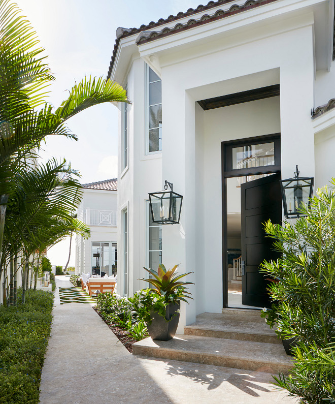 Benjamin Moore Paint Colors Benjamin Moore PM-1 Super White. Benjamin Moore PM-1 Super White. White exterior paint color with black front door Benjamin Moore PM-1 Super White #BenjaminMoorePM1SuperWhite #whiteexterior #blackfrontdoor Pineapples Palms, Etc