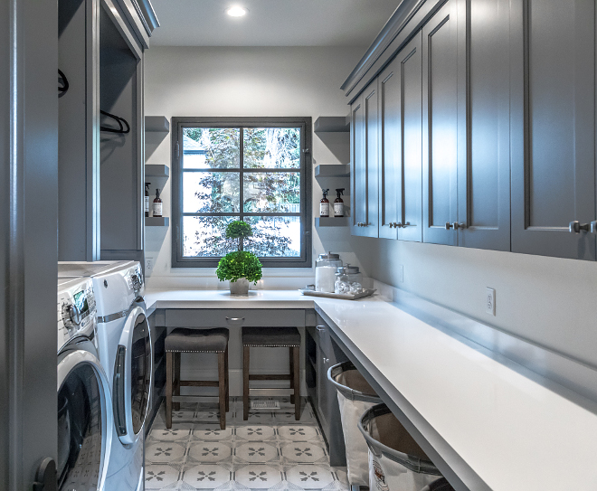 Benjamin Moore Trout Grey. Dark grey laundry room cabinet paint color Benjamin Moore Trout Grey. Benjamin Moore Trout Grey #BenjaminMooreTroutGrey Danielle Loryn Design