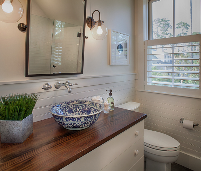 Blue and white sink. Blue and white vessel sink. Vessel sink. Bathroom with blue and white vessel sink #vesselsink #sink #bathroom #blueandwhite #blueandwhitesink #blueandwhitevesselsink Lisa Furey of Barefoot Interiors