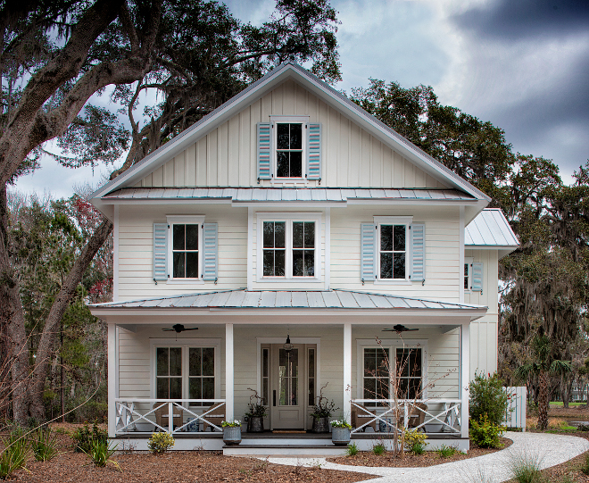 Board and batten and clapboard style exterior. Siding - Hardie Board - board and batten and clapboard style. Paint color is Benjamin Moore Swiss Coffee. Board and batten and clapboard style exterior ideas. Board and batten and clapboard style exterior. Board and batten and clapboard style exterior #Boardandbattenclapboardstyle #exterior Lisa Furey - Barefoot Interiors