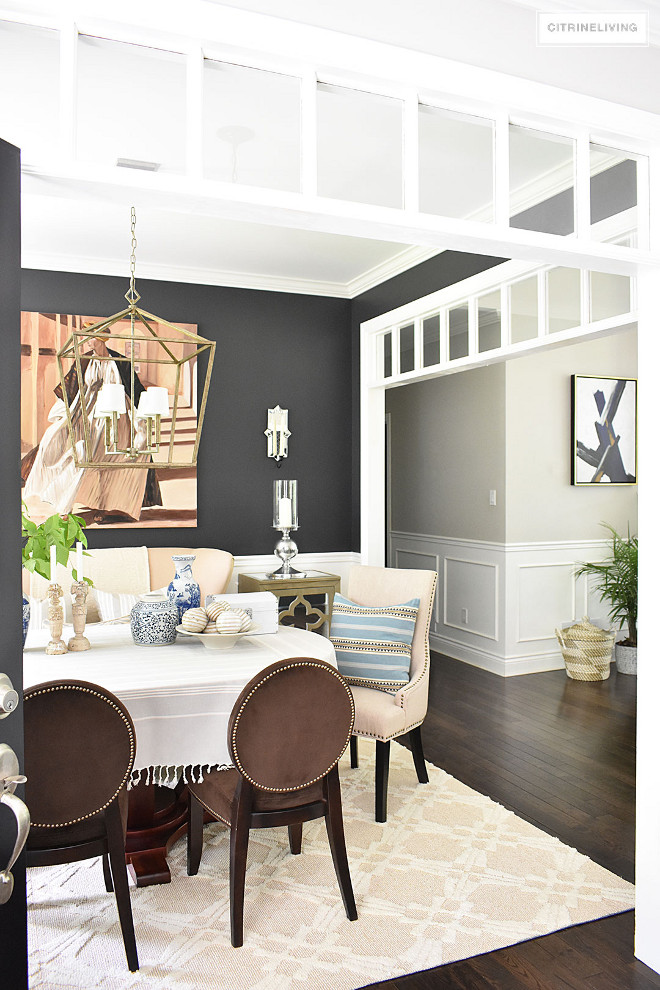 Dining room paint color. Dark paint color in dining room contrasting with neutral color. I am loving the contrast the dark paint color in the dining room creates against the neutral color on the remaining walls. Dark paint color Cracked Pepper PPU18-1 by Behr. Neutral wall paint color Benjamin Moore Collingwood. #diningroom #paintcolor #darkpaintcolor #neutralcolor #colorcontrast Beautiful Homes of Instagram @citrineliving Home Bunch