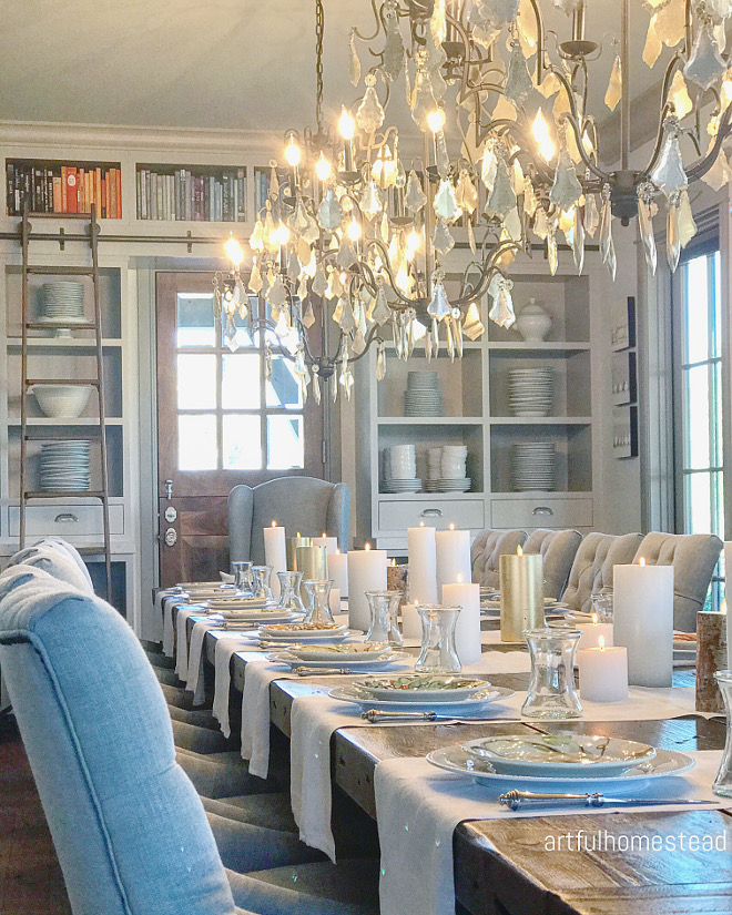 Dining room with three chandeliers. The three chandeliers are from Restoration Hardware #diningroom #chandeliers @artfulhomestead