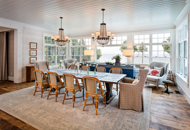 Dining room. Hamptons style Dining room. Hamptons style Dining room with beadboard ceiling and whitewashed shiplap #Hamptonsstyle #Diningroom #beadboardceiling #shiplap Mitch Wise Design,Inc.