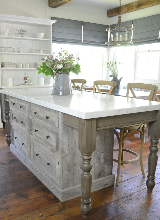 Driftwood Kitchen Island. Driftwood Shiplap Kitchen Island with white marble countertop. Driftwood Kitchen Island. Driftwood Kitchen Island #DriftwoodKitchen #DriftwoodKitchenIsland #DriftwoodshiplapKitchenIsland #Driftwood #Kitchen #Island Beautiful Homes of Instagram @SanctuaryHomeDecor