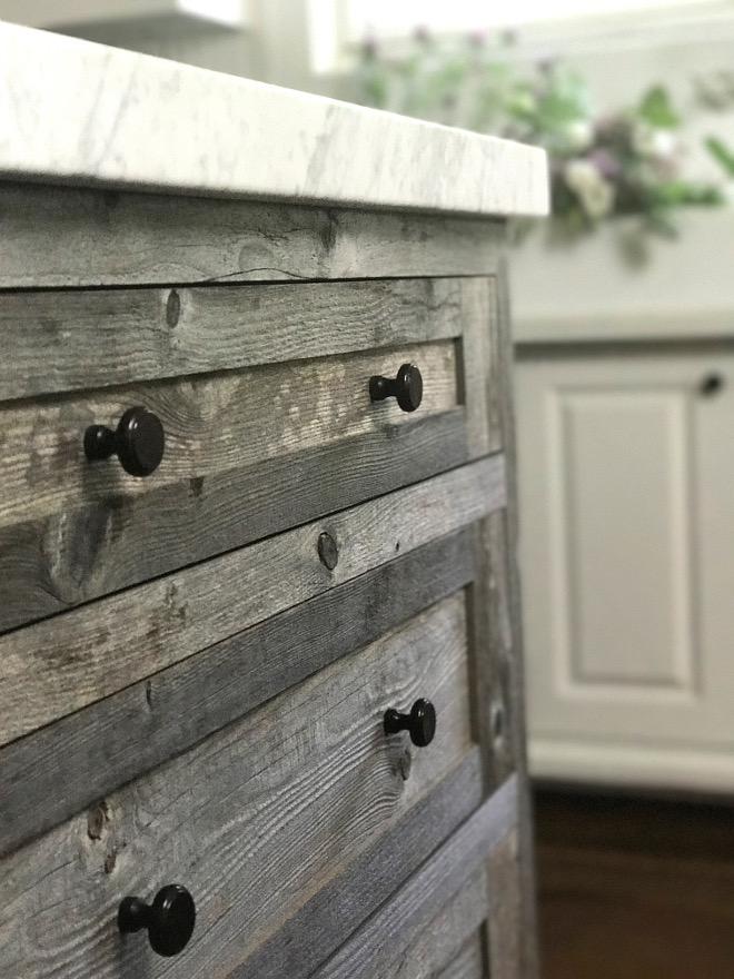 Driftwood kitchen cabinet hardware. Driftwood kitchen cabinet hardware. The hardware is the Dakota button knob from Restoration Hardware in Soft Iron. Driftwood kitchen cabinet hardware. Driftwood kitchen cabinet hardware #Driftwoodkitchencabinet #hardware Beautiful Homes of Instagram @SanctuaryHomeDecor