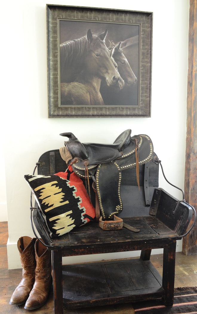 Esquetrian Interior Design Ideas. Horse Settle Interior. Horse Art. Horse Framed Art. Cowboy Boots #EsquetrianInterior #EsquetrianInteriorDesign #EsquetrianInteriorDesignIdeas Beautiful Homes of Instagram @SanctuaryHomeDecor