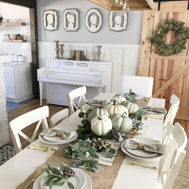 farmhouse dining room. There s nothing more uninviting than a ethereal home and for me  farmhouse inspired homes are just the opposite to that This dining room not only feels Farmhouse Dining Room Fall Decor Ideas Home Bunch Interior