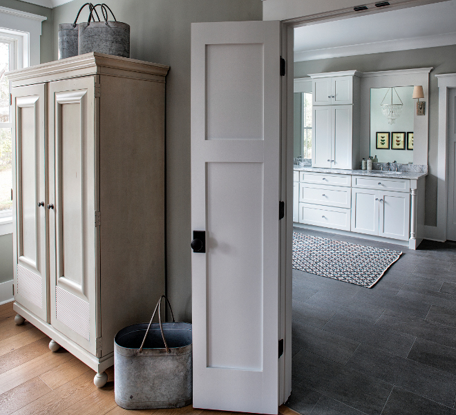 Farmhouse Interiors. Farmhouse bedroom armoire from Universal Furniture and zinc buckets from Wayfair Farmhouse #farmhouse #interiors #farmhouseinteriors #armoire #zincbuckets #zincbuckets Lisa Furey - Barefoot Interiors