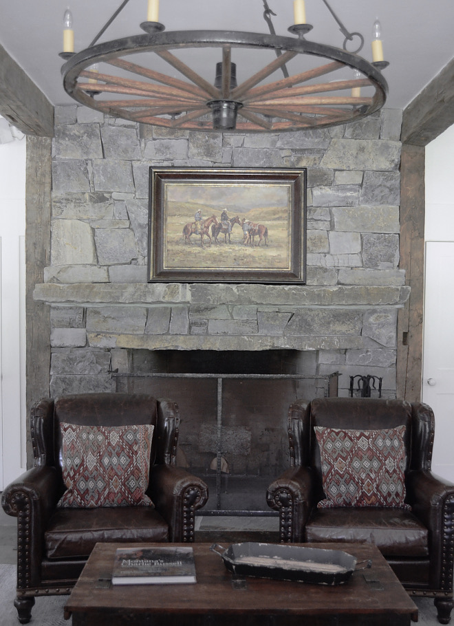 Floor-to-ceiling stone fireplace. The enormous fireplace is the centerpiece of the great room and a wonderful gathering place on cold evenings. We redesigned it by adding Montana fieldstone from the floor to the ceiling. #Floortoceilingstonefireplace #Fieldstonefireplace Beautiful Homes of Instagram @SanctuaryHomeDecor