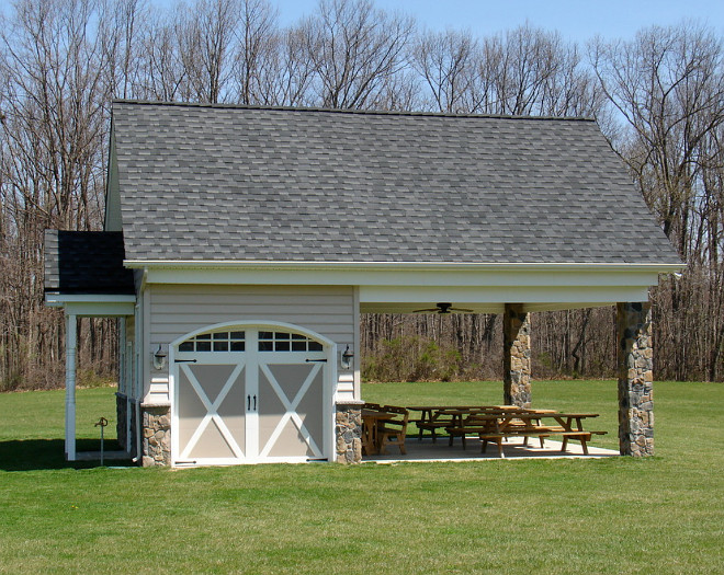 Garage Shed. The covered area also acts as a covered eating area for get togethers. Classic American Homes, Inc