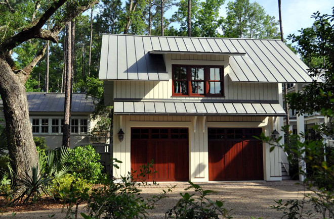Garage Wood siding, metal roof and dormer window garage ideas. Siding is reverse board and batten cypress. Garage size is 26 x 26. Metal roof is zinc and that is it's natural color. Paint colors Siding is Oyster Sheel by Glidden 43YY78/053. the trim is Snowy Egret PWN-50 by Behr and the windows and doors are Alaskan Yellow Cedar with a mahogany stain. Frederick + Frederick Architects