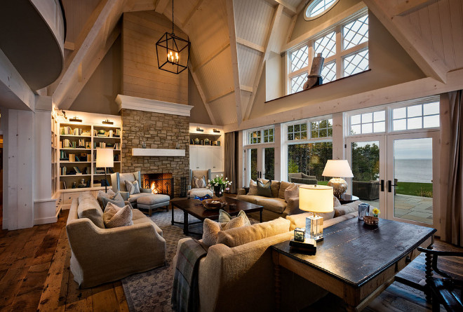 Great room windows and ceiling. Lake house Great room windows trim and beadboard ceiling. Lake house Great room windows trim and beadboard ceiling. Gorgeous lake house great room with wide plank hardwood floors, stone fireplace and beadboard ceiling. Lake house Great room windows trim and beadboard ceiling #Lakehouse #Greatroom #windows #windowtrim #beadboardceiling Mitch Wise Design,Inc.