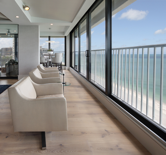 Holly Hunt chairs line the stunning ocean view. W Design