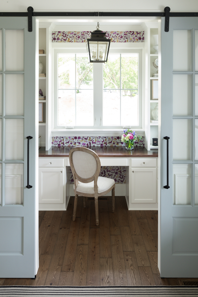 Home Office Barn Door. Home Office Barn Door painted in Sherwin Williams Grey Matters. Home Office Barn Door Ideas. Home Office Barn Door #HomeOffice #BarnDoor #SherwinWilliamsGreyMatters Bria Hammel Interiors