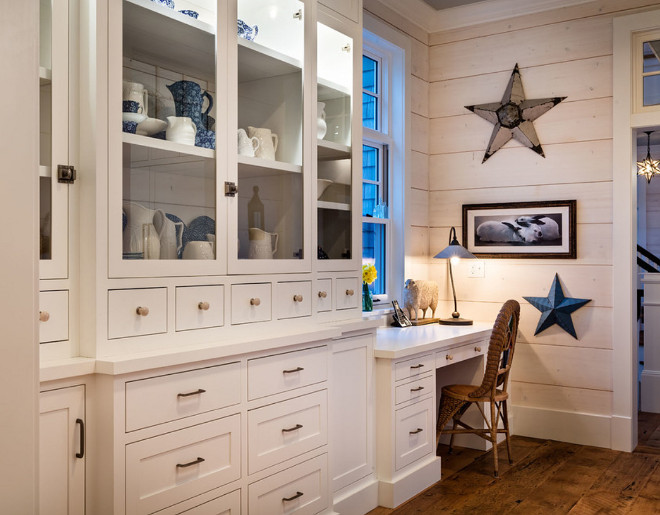 Kitchen Desk Layout. Kitchen desk beside hutch cabinet. Whitewashed shiplap and wide barnwood hardwood floors. Kitchen Desk Layout. Kitchen desk beside hutch cabinet. Whitewashed shiplap and wide barnwood hardwood floors. Kitchen Desk Layout. Kitchen desk beside hutch cabinet. Great kitchen desk cabinet layout. Whitewashed shiplap and wide barnwood hardwood floors #KitchenDeskLayout #Kitchendesk #cabinet #Whitewashedshiplap #widebarnwoodhardwoodfloors Mitch Wise Design,Inc.