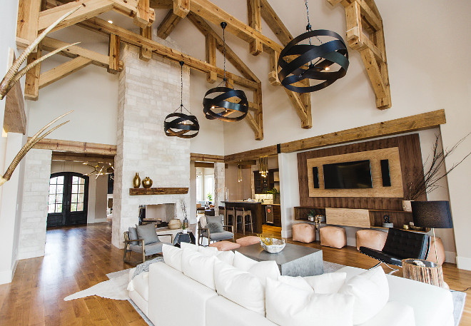 Living room tall fireplace and ceiling beams. Living room tall fireplace and ceiling beam ideas. Living room tall fireplace and ceiling beams. Living room tall fireplace and ceiling beams #Livingroom #tallfireplace #ceilingbeams Urbanology Designs