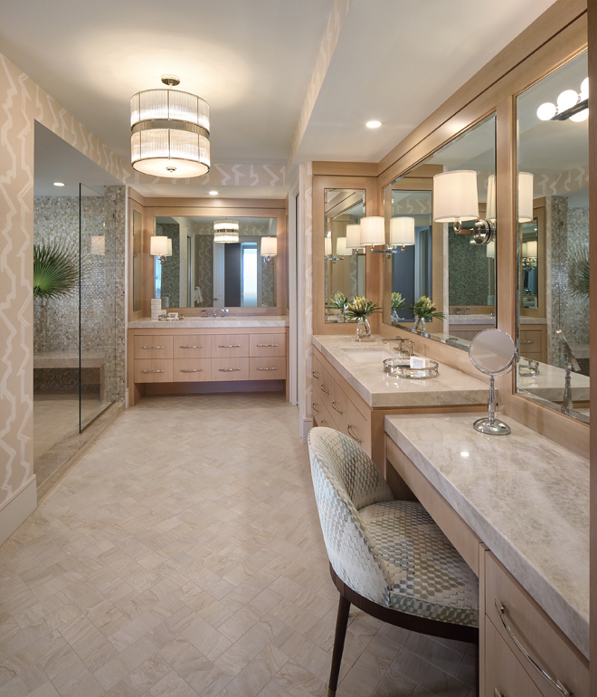 Master Bathroom. Master bathroom textures. The master bath features custom bleached walnut cabinetry with a mosaic glass shower and herringbone porcelain travertine floor. Master bathroom #Masterbathroom W Design
