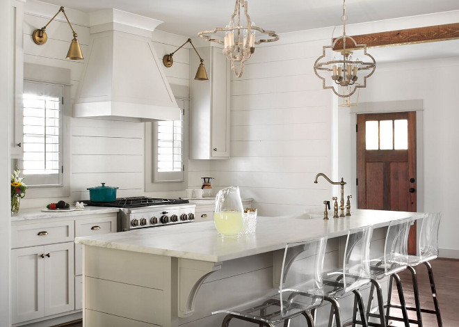 Modern Farmhouse Kitchen With Shiplap Backsplash, Shiplap Island And White  Shaker Cabinets. Modern Farmhouse