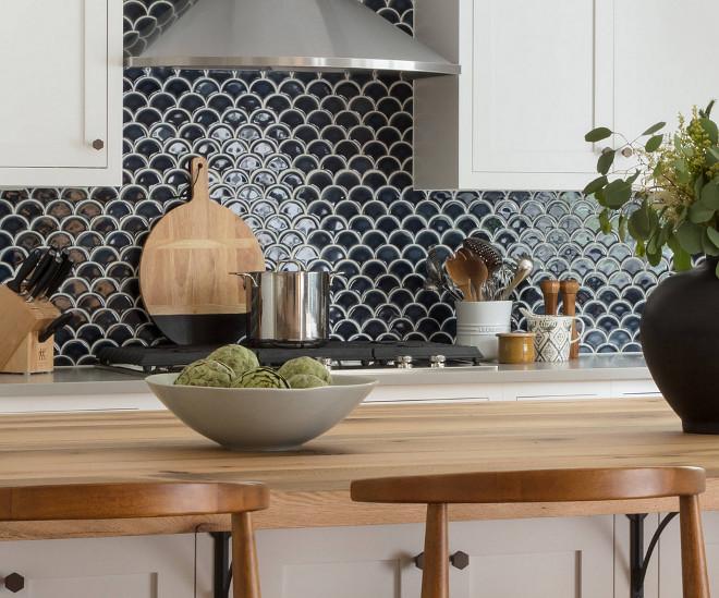 Navy Backsplash. White kitchen with navy backsplash. Navy backsplash is Pratt and Larson Fan Ceramic tile. #navybacksplash #backsplash #whitekitchenbacksplash #PrattandLarsonFanCeramictile Jamie Keskin Design