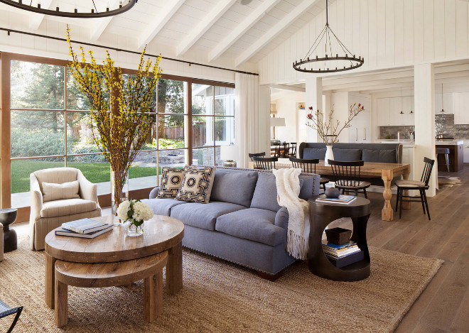 Open concept living room. This entire space feels connected yet distinctive. Jennifer Robin Interiors