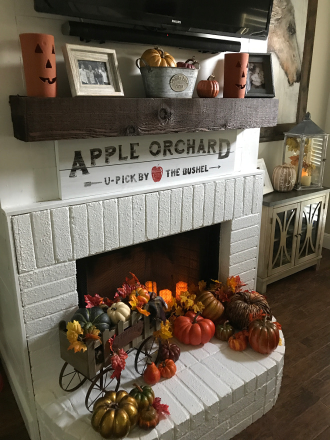 Painted Brick Fireplace Timber Mantel Fall Decor. Painted Brick Paint Color: Behr Ultra White in semi-gloss. Painted Brick Fireplace Timber Mantel Fall Decor. Painted Brick Fireplace Timber Mantel Fall Decor. Painted Brick Fireplace Timber Mantel Fall Decor #PaintedBrickFireplace #TimberMantel #MantelFallDecor #FallDecor @matt.juhl