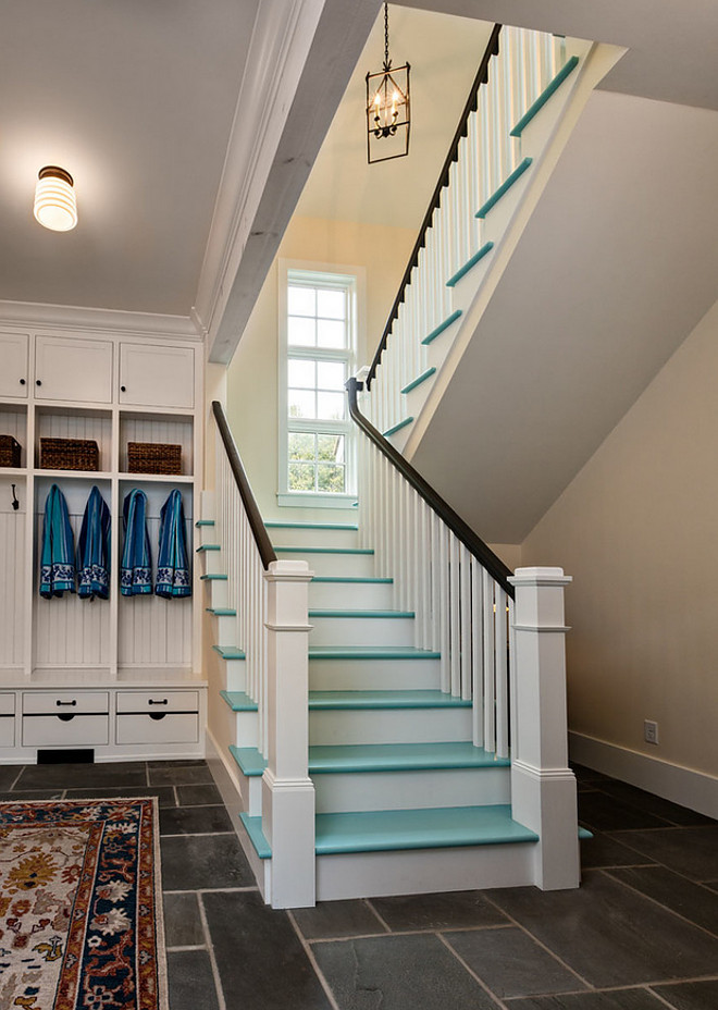 Painted Stair treads. Turquoise Painted Stair treads. Painted Stair treads. Painted Stair tread ideas #PaintedStairtreads #Stairtreads #paintedstairs Mitch Wise Design,Inc.