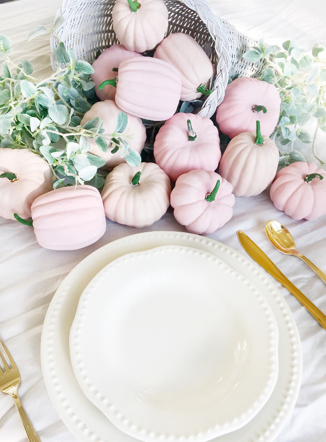 Pink pumpkins. Faux Pink pumpkins. DIY Pink Pumpkins: Dollar Tree. Painted with Martha Stewart craft paint. Pink pumpkins. Cuttest thing ever! Pink pumpkins #Pinkpumpkins @thriftyniftynest