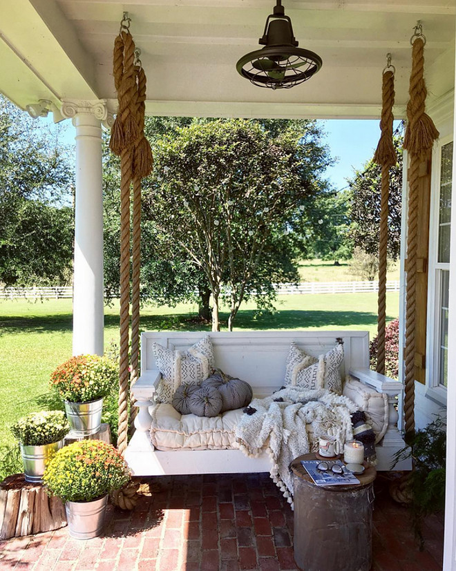 Porch Swing Fall Decor. Porch Swing Fall Decor. Porch Swing Fall Decor Ideas. Porch Swing Fall Decor Pumpkins and flowers Porch Swing Fall Decor #PorchSwing #FallDecor @cindimc.ivoryhome