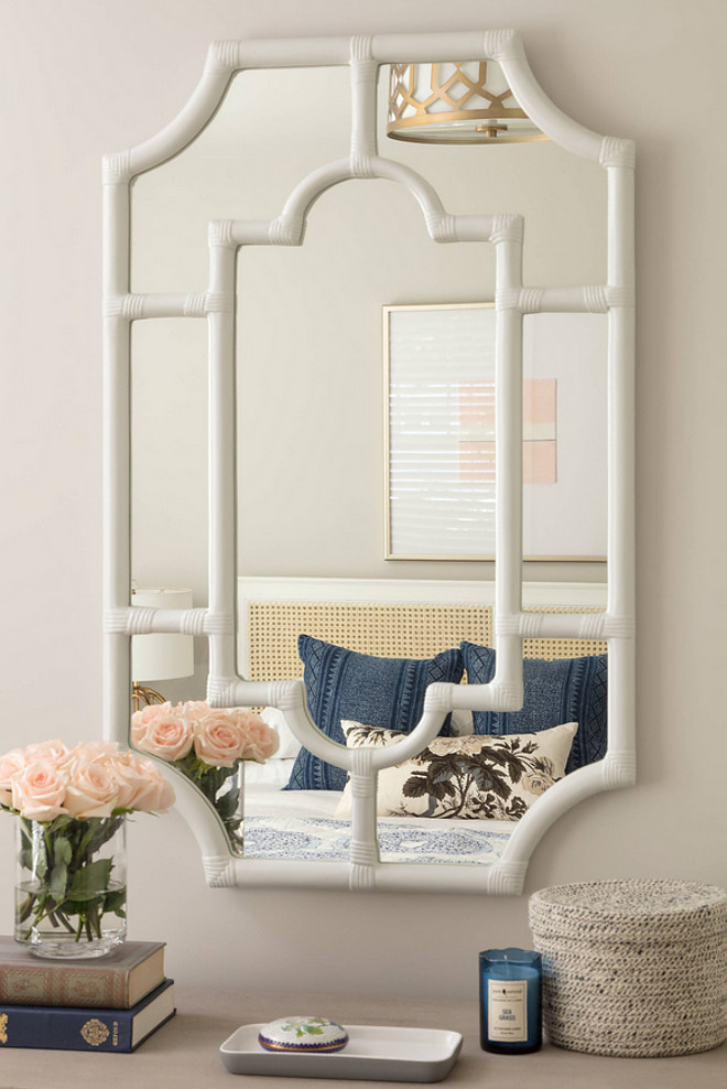 Pottery Barn white faux bamboo mirror. Pottery Barn white faux bamboo mirror. Mirror is Pottery Barn white faux bamboo mirror #PotteryBarn #whitefauxbamboomirror #fauxbamboomirror Jamie Keskin Design