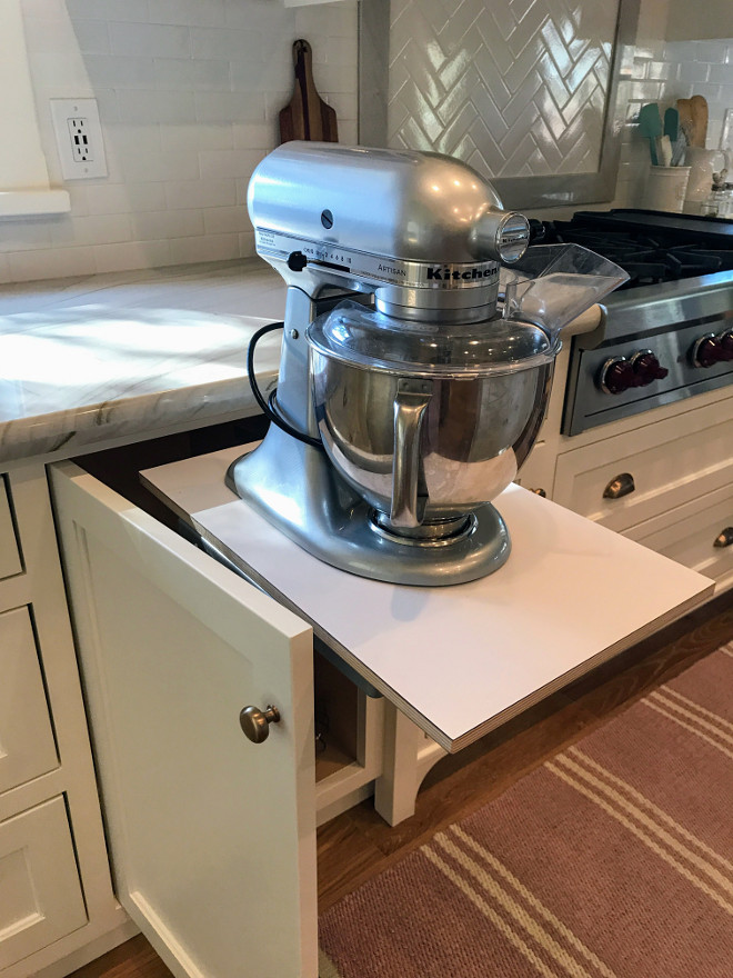 Pull Out Baking Station. Kitchen Pull Out Baking Station. This custom baking station has a base mixer shelf that swings up from the base kitchen cabinet. Pull Out Baking Station. Kitchen Baking Station