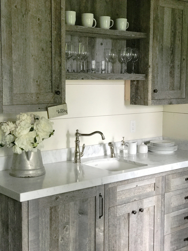 Reclaimed Barnwood Butlers Pantry Cabinet with white marble countertop and shiplap backsplash. Beautiful Homes of Instagram @SanctuaryHomeDecor