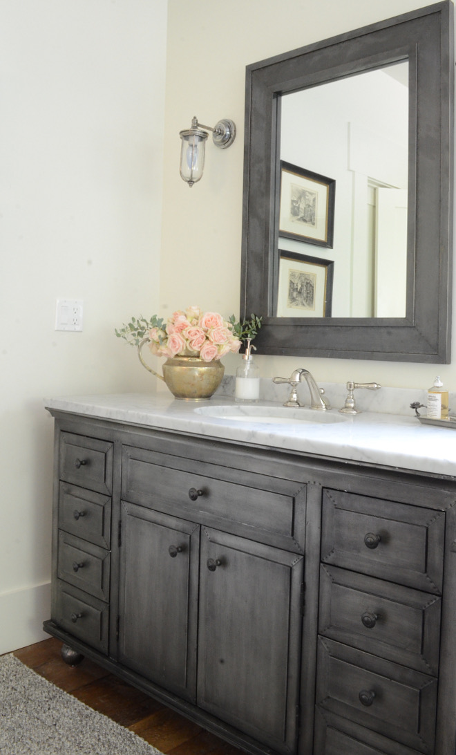Restoration Hardware Zinc Vanity and Restoration Hardware Zinc Mirror. Beautiful Homes of Instagram @SanctuaryHomeDecor