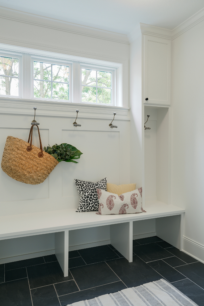 Slate Floor Tile. This is a cute yet practical mudroom. The durable flooring is slate tile. Mudroom slate floor tile #mudroomtile #floortile #slatetile #slate Bria Hammel Interiors