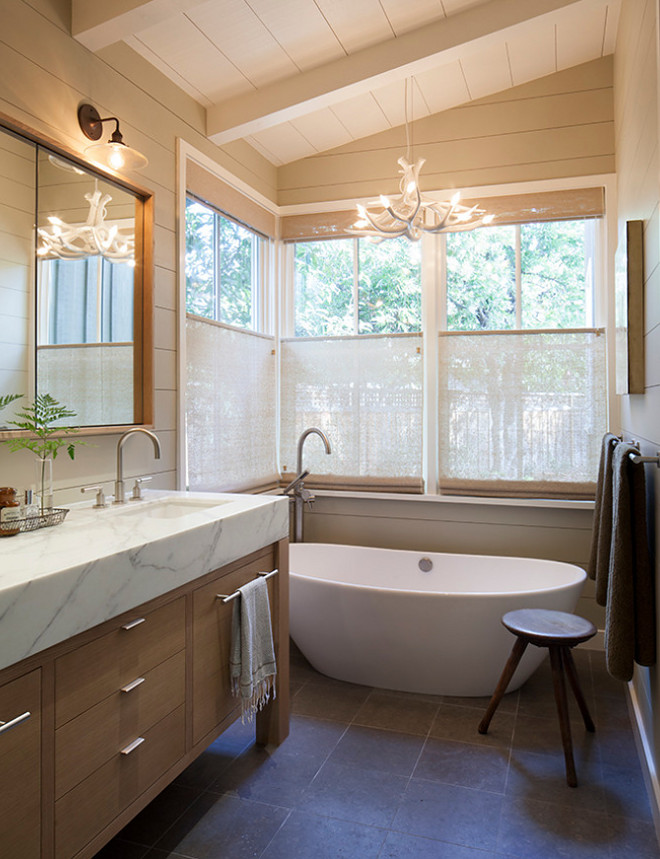 Tan shiplap. Tan shiplap. Modern farmhouse bathroom features Tan shiplap. I love the idea of using other colors on shiplap other than just white. Tan shiplap. Tan shiplap Neutral Tan shiplap. Tan shiplap #Tanshiplap Jennifer Robin Interiors