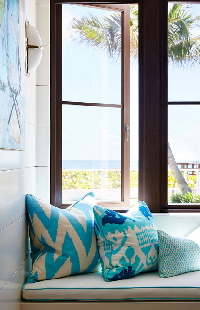 Turquoise Pillows. Shiplap reading nook with turquoise pillows. The turquoise pillows are custom with Quadrille Fabric. #turquoise #pillows #nook #shiplap #nookpillows #readingnook #shiplapreadingnook Pineapples Palms, Etc