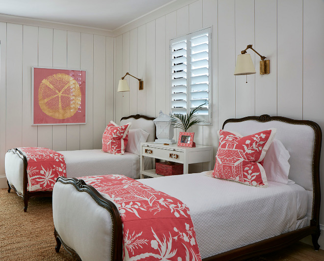 White And Coral Bedroom With Vertical Shiplap Paneling