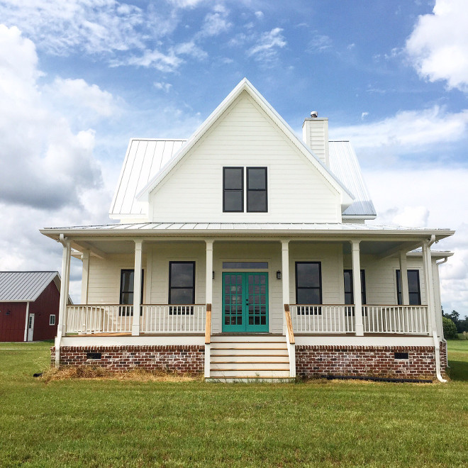 White farmhouse with brick. White farmhouse with brick. Paint Color is Benjamin Moore White Dove #Whitefarmhouse #brickfarmhouse #BenjaminMooreWhiteDove @mygeorgiafarmhouse
