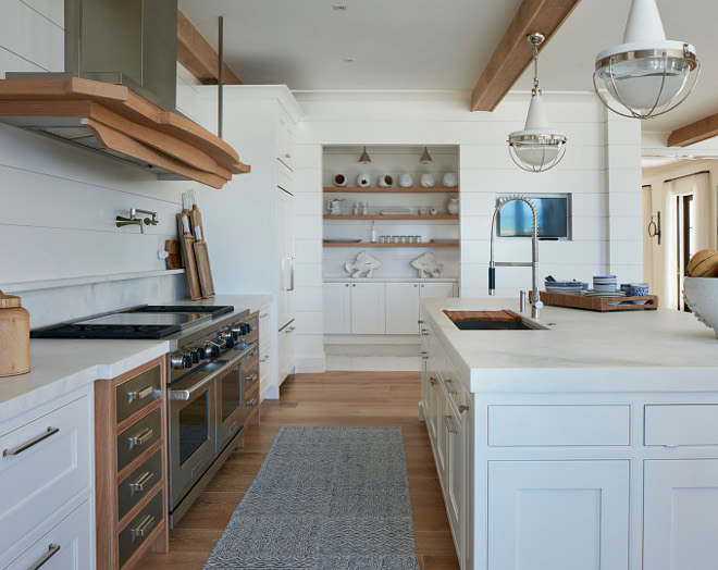 White kitchen with Shiplap and Limed White Oak Accents. Fresh White kitchen with Shiplap and Limed White Oak Accents #Whitekitchen #Shiplap #LimedWhiteOak Pineapples Palms, Etc