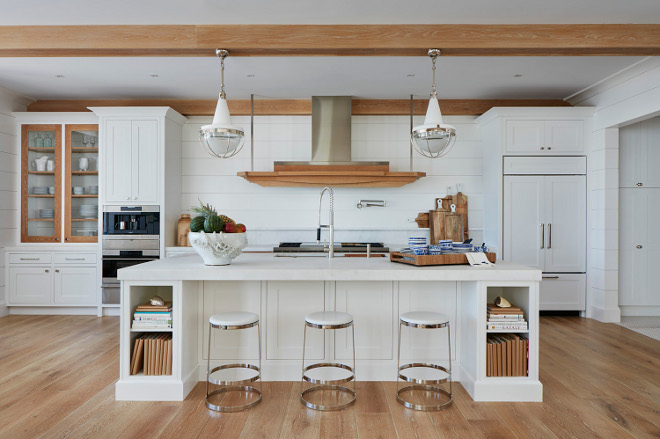 White kitchen with white shiplap painted in Super White by Benjamin Moore and White Oak accent trim and ceiling beams. #Whitekitchen #whiteshiplap #SuperWhitebyBenjaminMoore #shiplap #WhiteOak #accenttrim #beams Pineapples Palms, Etc