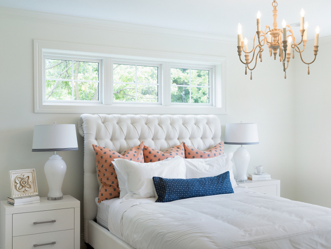 White master bedroom paint color Benjamin Moore Swiss Coffee. Bria Hammel Interiors