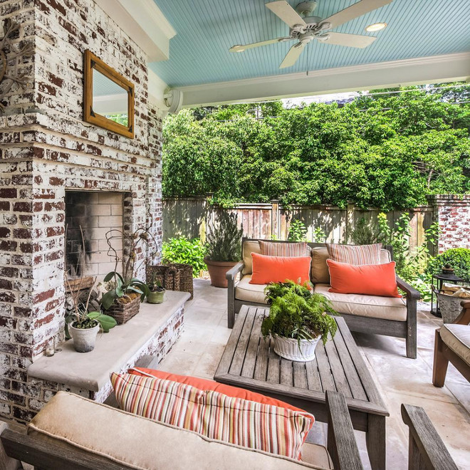 Whitewashed Brick. Whitewashed Brick. Charming porch with whitewashed/distressed brick fireplace. Whitewashed Brick. Outdoor fireplace features Whitewashed Brick. Whitewashed Brick #WhitewashedBrick #Whitewashed #Brick Via Coldwell Banker