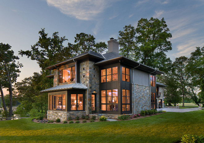 Windows. Dark windows with stone exterior. Black window exterior with stone #blackwindows #darkwindows #stone #exterior Vicent Greene Architects