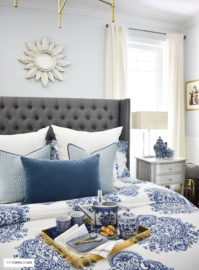 blue-and-white-bedding-accessories-ginger-jar-sunburst-mirror-gold-tray Beautiful Homes of Instagram @citrineliving Home Bunch