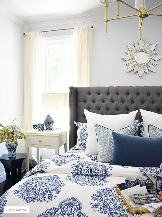 blue-and-white-bedding-and-accessories-ginger-jars-vase-hydrangeas-sunburst-mirror Beautiful Homes of Instagram @citrineliving Home Bunch