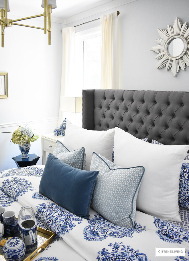 blue-and-white-bedding-blue-and-white-bedding-blue-and-white-bedding-blue-and-white-bedding Beautiful Homes of Instagram @citrineliving Home Bunch