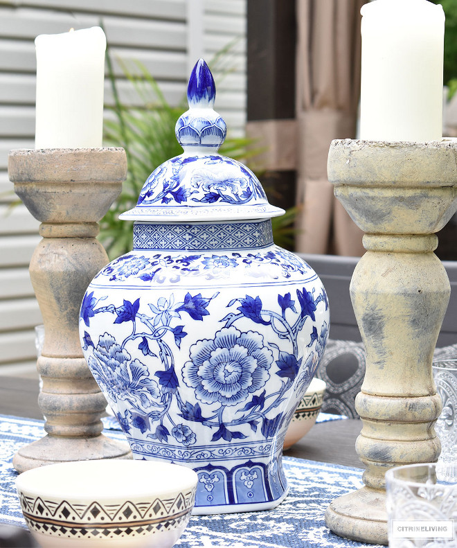 blue-and-white-ginger-jar-and-pillar-candleholders-outdoor-tablescape Beautiful Homes of Instagram @citrineliving Home Bunch