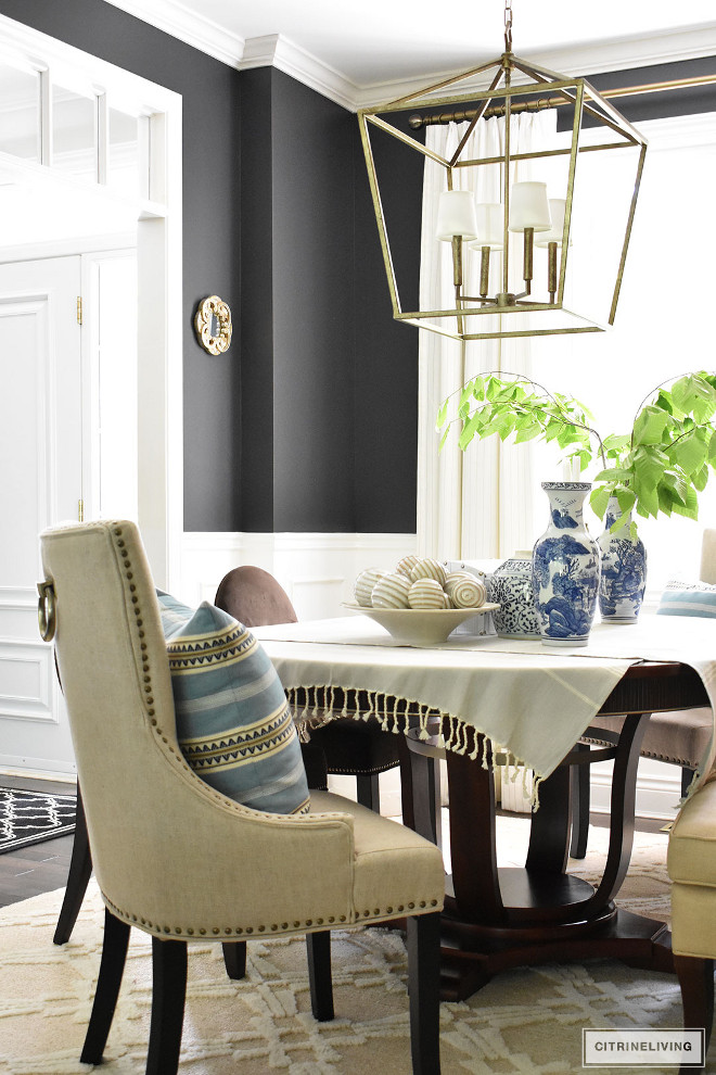 dining-room-upholstered-chairs-blue-striped-pillow-lantern-pendant-light-darlana Beautiful Homes of Instagram @citrineliving Home Bunch