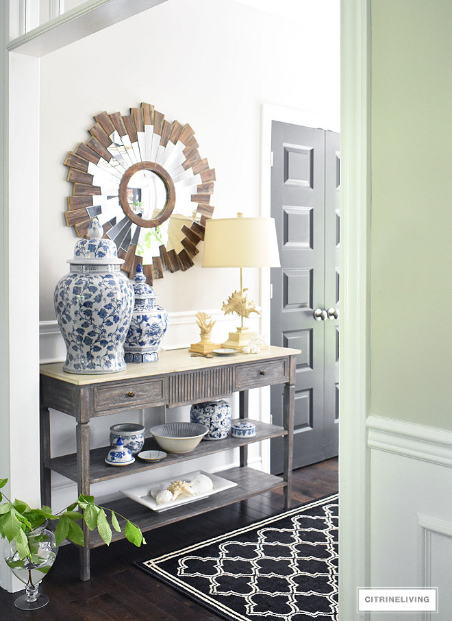 entryway-blue-and-white-ginger-jars-fresh-greenery-console-table-starburst-mirror-entryway-blue-and-white-ginger-jars-fresh-greenery-console-table-starburst-mirror-entryway-blue-and-white-ginger-jars-fresh-greenery-console-table-starburst-mirror #entryway #blueandwhitegingerjars #gingerjars #freshgreenery #consoletable #starburst #mirror gingerjars Beautiful Homes of Instagram @citrineliving Home Bunch