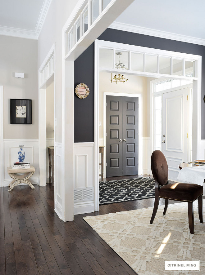 Ultra Pure White 1850 by Behr. Ultra Pure White 1850 by Behr. Ultra Pure White 1850 by Behr. Trim Wainscotting Paint Color Ultra Pure White 1850 by Behr. he wainscotting is applied molding and chair rail, all painted a bright, crisp white. All Trim/Wainscotting Paint Color: Ultra Pure White by Behr. #Trim #Wainscotting #PaintColor #UltraPureWhite1850Behr #hallway #transoms #wainscoting Beautiful Homes of Instagram @citrineliving Home Bunch