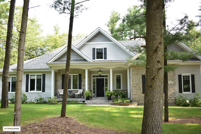 home-exterior-grey-siding-stone-black-door-shutters-home-exterior-grey-siding-stone-black-door-shutters #homeexterior #greysiding #stone #blackdoor #shutters Beautiful Homes of Instagram @citrineliving Home Bunch